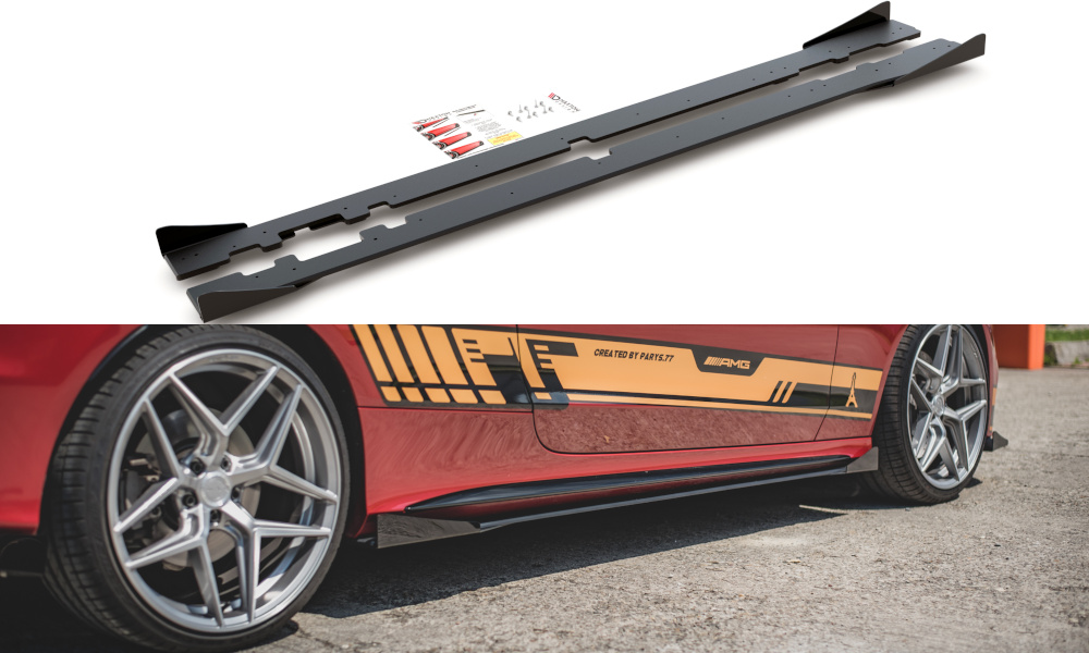 DOKŁADKI PROGÓW RACING DURABILITY + FLAPS MERCEDES-AMG C43 COUPE C205 - GRUBYGARAGE - Sklep Tuningowy